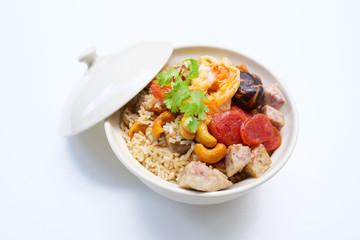 Rice Baked taro, Chinese sausage, Shiitake mushrooms. Asian food