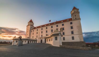 Bratislava Castle or Bratislavsky Hrad at Sunset. The Main Castle of Capital City of Slovakia.