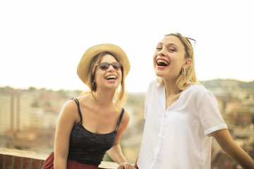 Laughing friends