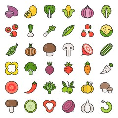 Vegetable icon set 2/2, filled outline icon