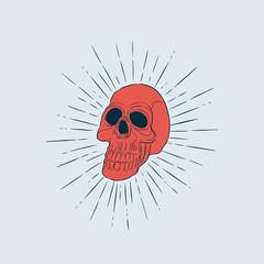 skull head, hand draw sketch vector.