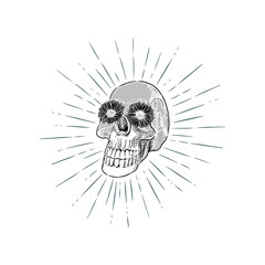 skull head, hand draw sketch vector.