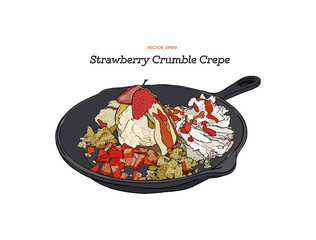 strawberry ice-cream crepe with crumble serve in pan. Hand draw sketch vector.