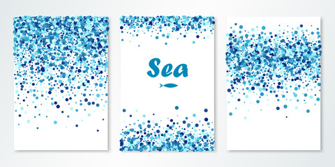 Banners set with navy blue confetti on white. Vector flyer design templates. Sea design. Confetti circles. All layered and isolated