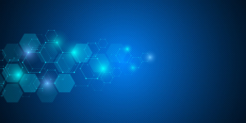 Molecular structure background. Abstract background with molecule DNA. Geometric shape with hexagons.