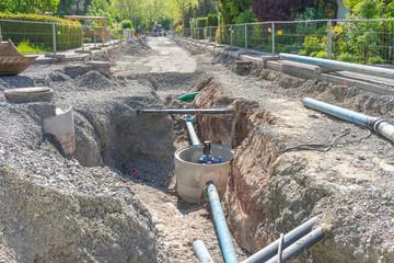 Auswechseln der Wasserleitung im Wohngebiet