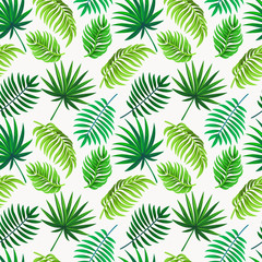 Vector seamless tropical pattern with palm leaves  on light background.  Floral illustration for textile, print, wallpapers, wrapping.