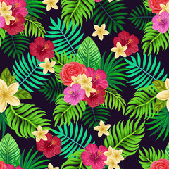 Vector seamless tropical pattern with palm leaves and flowers on dark background. Colourful floral illustration for textile, print, wallpapers, wrapping.