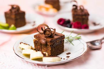 Chocolate cream cake with banana