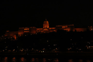 Royal Palace and Danube river in Budapest at night