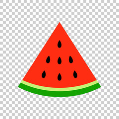 Watermelon sign vector icon. Ripe fruit illustration. Business concept simple flat pictogram on isolated transparent background.