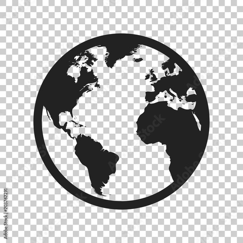 Globe world map vector icon round earth flat vector illustration globe world map vector icon round earth flat vector illustration planet business concept pictogram gumiabroncs Gallery
