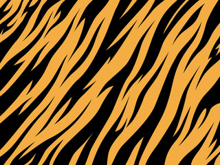 Tiger texture abstract background orange black. Vector jungle strip