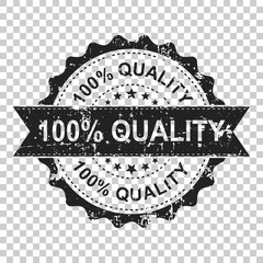 100% quality scratch grunge rubber stamp. Vector illustration on isolated transparent background. Business concept 100 percent quality stamp pictogram.