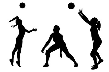 Vector silhouettes of girls classic volleyball