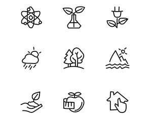ecology hand drawn icon set design illustration, hand drawn style design, designed web and app