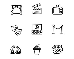 entertainment hand drawn icon set design illustration, hand drawn style design, designed web and app
