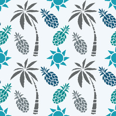 Seamless pattern with coconut palm trees, pineapples