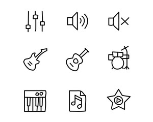 music hand drawn icon set design illustration, hand drawn style design, designed web and app
