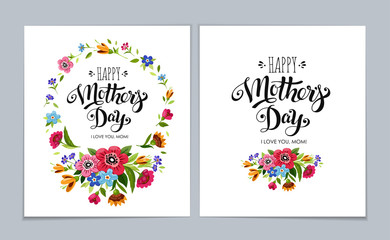 Template Happy Mother's Day cards on light blue background. Lettering Happy Mothers Day in flower frame