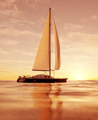 3d rendering of a sailboat in the ocean