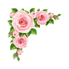 Vector corner background with pink roses and green leaves.