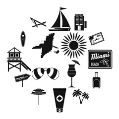 Miami icons set in simple style isolated on white background