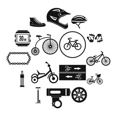 Biking icons set in simple style for any design