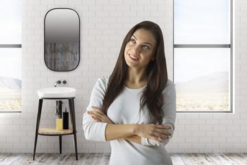 Pretty woman in bathroom