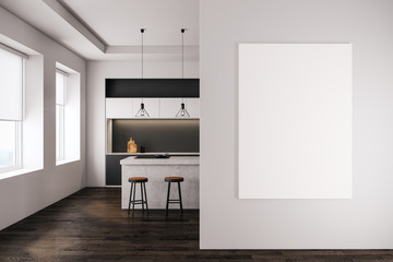 Contemporary kitchen with empty banner
