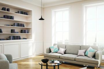 New white library interior