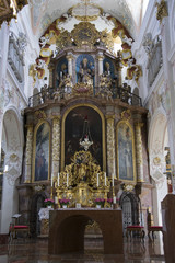 Detail shot of an old Catholic church near Bad Aibling in Bavaria