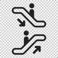 Escalator elevator icon. Vector illustration on isolated transparent background. Business concept escalator pictogram.