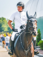 Showjumping competition, bay horse and rider in white uniform waits for performing jump over the bridle. Equestrian sport background. Beautiful horse portrait during show jumping competition.