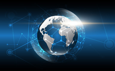 Global network connection World map abstract technology background global business innovation concept