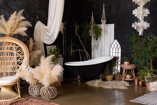 Bathroom interior in tropical style