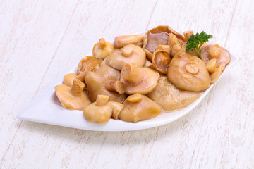 Pickled mushrooms in the bowl