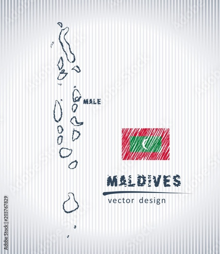 Maldives national vector drawing map on white background\