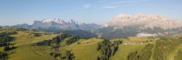 Great landscape on the Dolomites. View on Sella group and Marmolada. Alta Badia, Sud Tirol, Italy