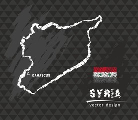 Syria map, vector pen drawing on black background