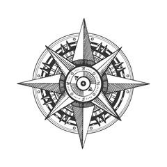 Medieval wind rose engraving vector illustration