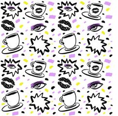 Vector hand drawn ink seamless pattern with woman eye, closed eyes and coffee cup with lipstick. Black, purple and yellow on white background. Design for prints, textile, and web in beauty industry