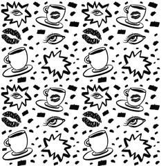 Vector hand drawn ink seamless pattern with woman eye, closed eyes and coffee cup with lipstick. Isolated black on white background. Design for prints, textile, posters and web in beauty industry