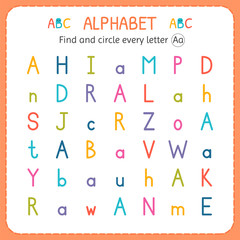 Find and circle every letter A. Worksheet for kindergarten and preschool. Exercises for children