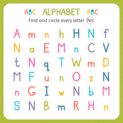 Find and circle every letter N. Worksheet for kindergarten and preschool. Exercises for children