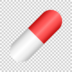 Pill vector icon in flat style. Tablet illustration on isolated transparent background. Capsule medical concept.
