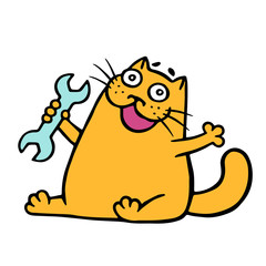 Cartoon orange cat plumber holds a wrench. Vector illustration