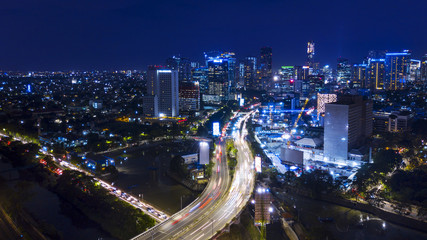 Printed kitchen splashbacks Buenos Aires Aerial view of Jakarta highway and cityscapes near Kuningan Central Business District