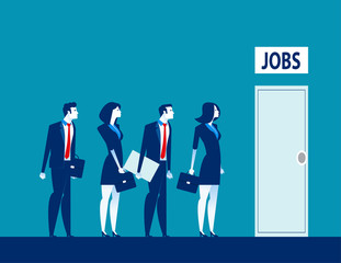Unemployment the digital age. Competition of people for jobs. Concept business technological revolution vector illustration
