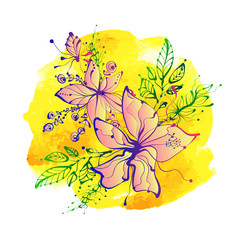 Bright fantasy hand drawn flowers on watercolor background.